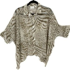 CHICO'S Semi-Sheer Animal Print Brown Batwing
